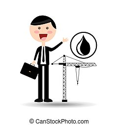 businessman oil concept oil drilling vector illustration eps...