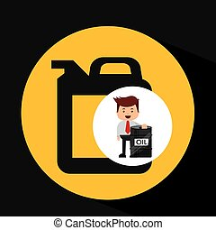 businessman oil industry barrel gallon vector illustration...
