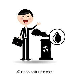 businessman oil concept nuclear plant vector illustration...