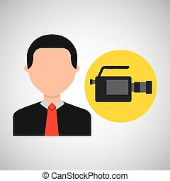 businessman movie camcorder icons vector illustration eps 10