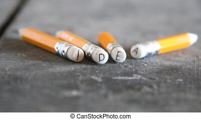Idea, inscription on pencils, invention concept - Idea- the...