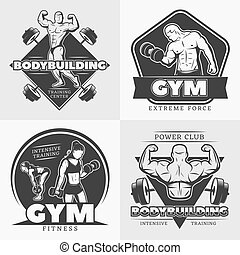 Body Building Emblem Set - Four square black body building...