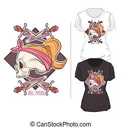 Woman T Shirt Print Design Composition