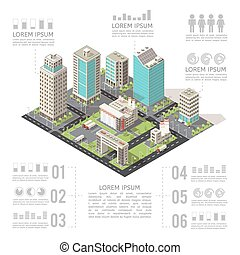 Office Buildings Isometric Infographics