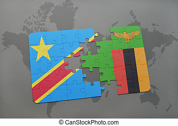 puzzle with the national flag of democratic republic of the...