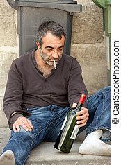 pobre, hombre, borracho