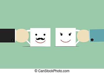 Coffee cup with smiley face. Good mood and vivacity for...