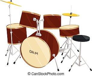 drum set vector - brown drum set vector