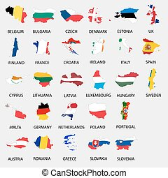 simple color flags all european union countries like maps  collection eps10
