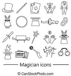 magician and magic theme set of outline icons eps10