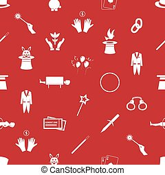 magician and magic theme set of icons seamless red pattern...