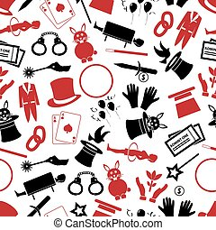 magician and magic theme set of icons seamless pattern eps10