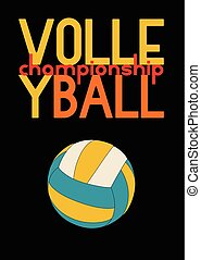 Volleyball typographic poster design. Vector illustration.
