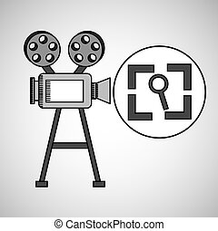 camera film vintage with movie screen search