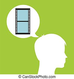 camera film roll silhouette head think movie vector...