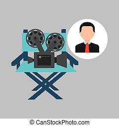businessman movie director chair film icons