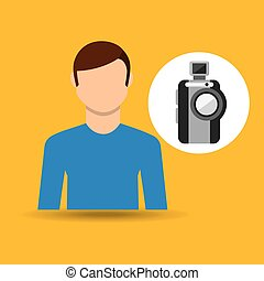 character man movie concept compact camera vector...