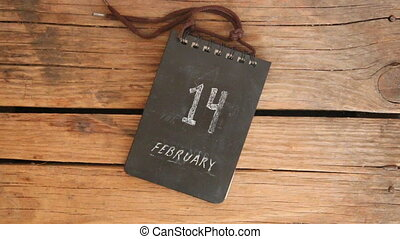 Valentines Day idea - 14 february inscription. Calendar on...