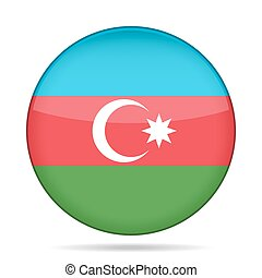 Flag of Azerbaijan. Shiny round button.