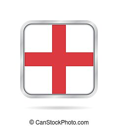 flag of England, shiny metallic gray square button