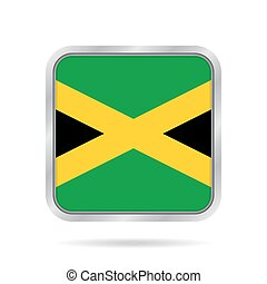 flag of Jamaica, shiny metallic gray square button