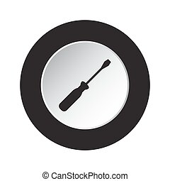 round black and white button - screwdriver icon - isolated...