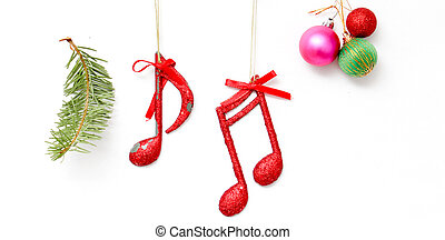 Christmas decoration with musical notes on white background....