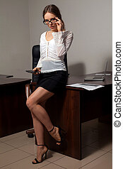 Secretary works in the office