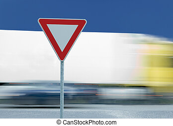 Give way yield traffic sign and truck - Give way yield road...