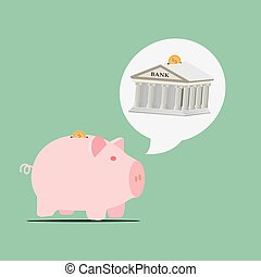 Piggy bank, house and Question