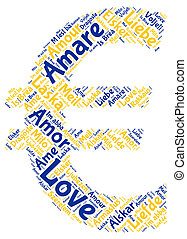 Euro Love Sign - A word cloud with Love in all the European...