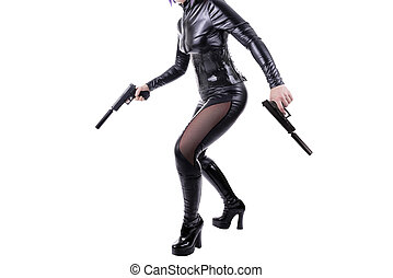 Sexy killer ready to shoot, isolated on white background