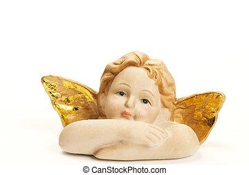 Uno, navidad, Ángel, estatuilla, cruzado, brazos,...