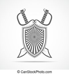 Shield with two sword. Vector illustration