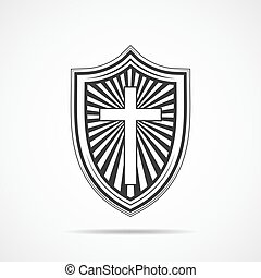 Shield with Christian cross. Vector illustration.
