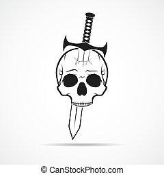 Human skull slain by a sword. Vector illustration