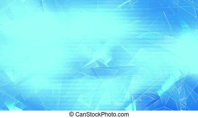 Broken geometric shapes low poly loop in blue - Animated...