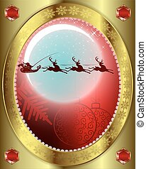 Santa Claus with a reindeer on background of moon