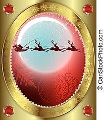 rendier,  Claus, kerstman, achtergrond, maan