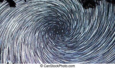 Stars leave traces. Spiral. Long lines. Russia. UltraHD (4K)