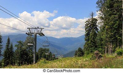 Cable lift. Time Lapse. Plateau Laura, Sochi, Russia....