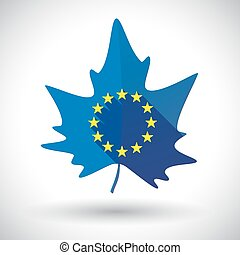 Isolated leaf with  the EU flag stars