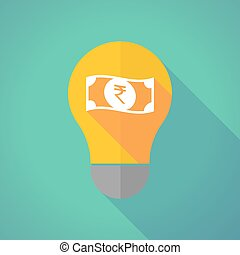 Long shadow bulb with a rupee bank note icon - Illustration...