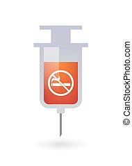 Isolated syringe with a no smoking sign - Illustration of an...