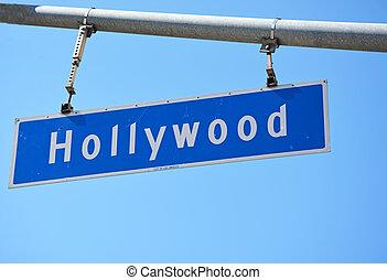 Closeup of a Hollywood sign