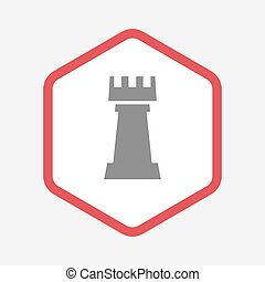 Isolated hexagon with a rook chess figure - Illustration of...