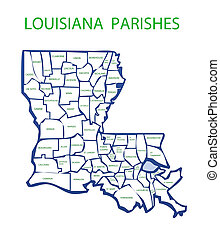 Louisiana With Parishes - Map of Louisiana showing the names...