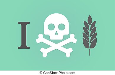 """""""I don't like"""" hieroglyph with a wheat plant icon -..."""