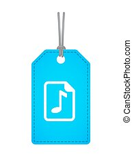 Isolated label with a music score icon - Illustration of an...