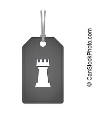 Isolated label with a rook chess figure - Illustration of an...